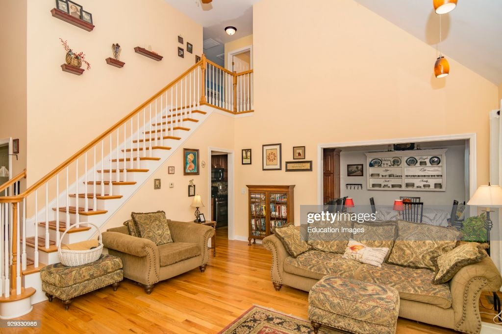 Living room interior of middle-class American home in ...