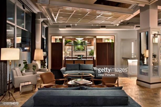 Living room interior of Mortimer House, Fitzrovia. Mortimer House, Fitzrovia, United Kingdom. Architect: AvroKO, 2018..
