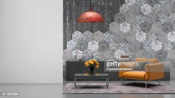 living room interior with orange armchair - carpet decor stock pictures, royalty-free photos & images