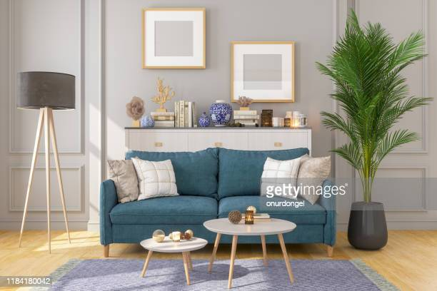 living room interior with picture frame on gray walls - design professional stock pictures, royalty-free photos & images