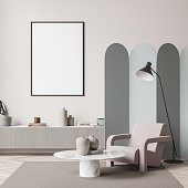 living room interior with white empty