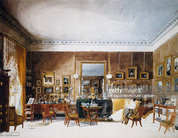 Living room of the Duchess of Berry at the Tuileries watercolour by Garnerey Auguste France 19th century