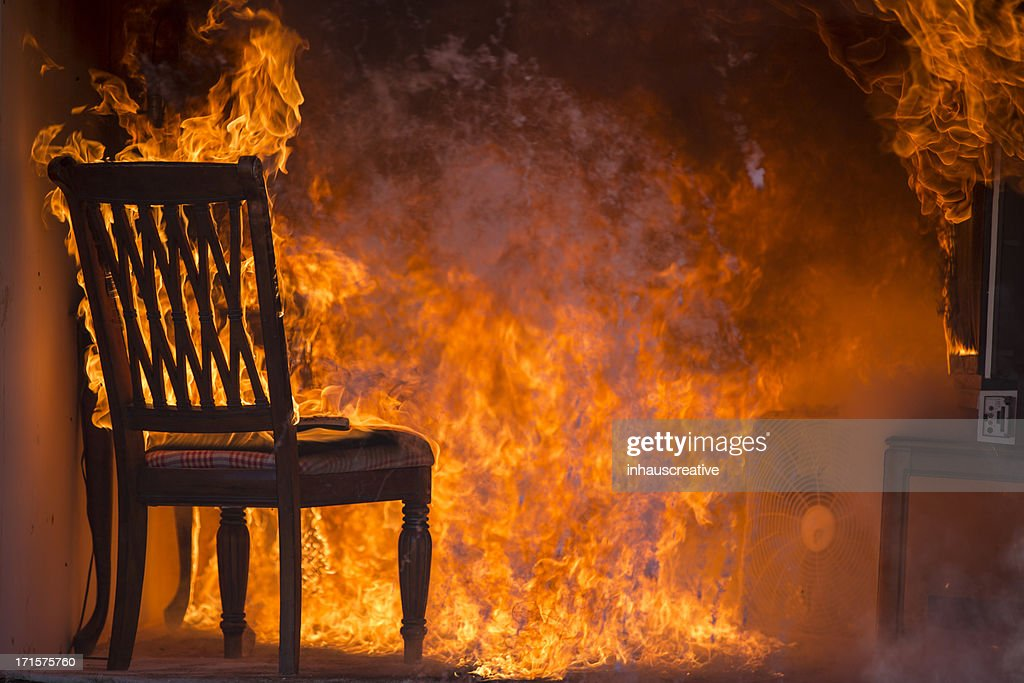 Living Room On Fire : Stock Photo