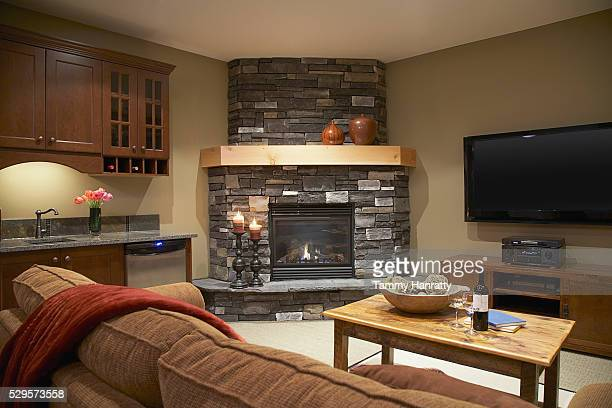living room - man cave stock pictures, royalty-free photos & images