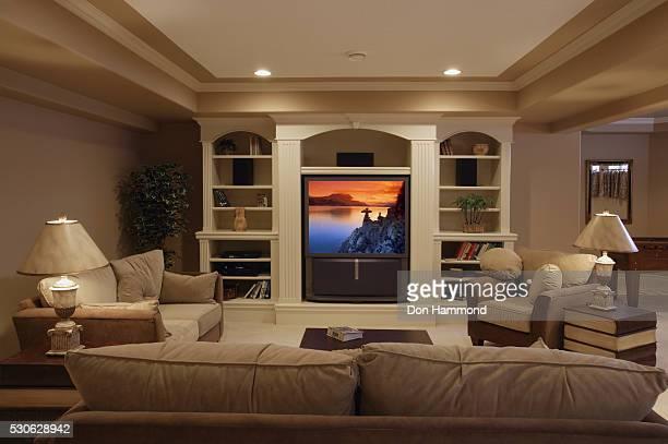 living room - 大型テレビ ストックフォトと画像