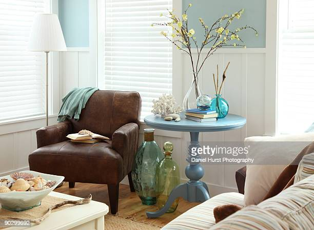 living room - beach house stock pictures, royalty-free photos & images