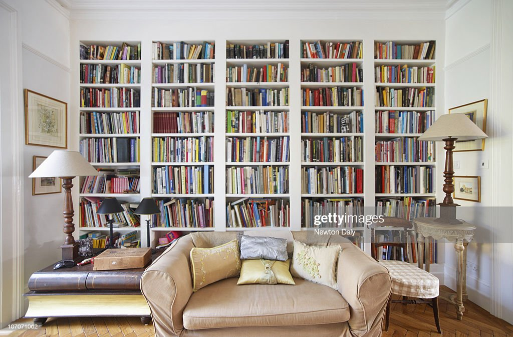 Living Room With Bookcase High-Res Stock Photo - Getty Images