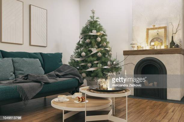 living room with christmas decoration - decor stock pictures, royalty-free photos & images