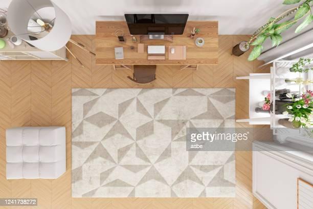 living room with computer above view - carpete imagens e fotografias de stock