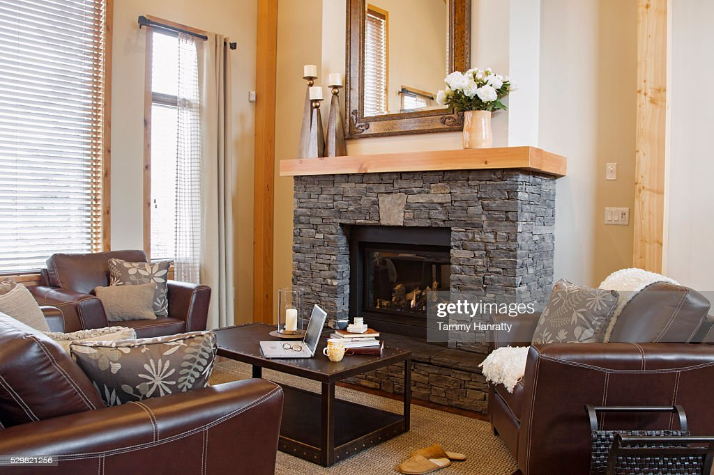 Living room with fire place : Foto stock