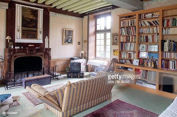 Living room with fireplace Chateau d'Egreville IledeFrance France