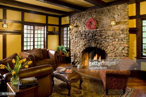 Living Room with Fireplace Hilltop Manor Hot Springs Arkansas