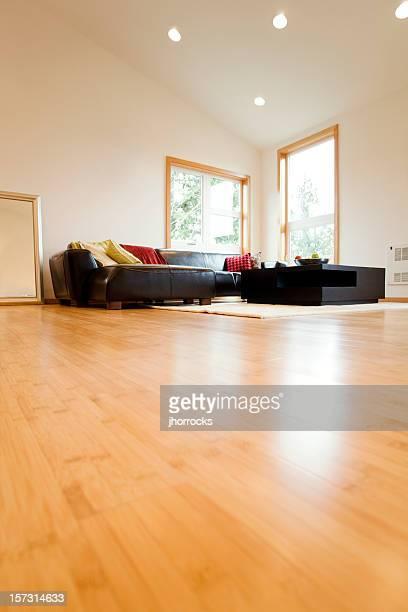 Salle de séjour avec des parquets en bois dur