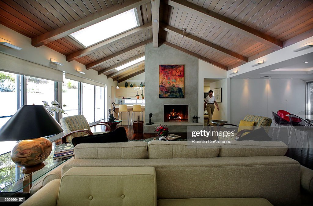 Living Room With High Sealing And Skylight At The Home Of Fredda Weiss In  Brentwood,