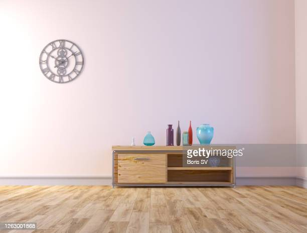 living room with pink-painted walls, mid-century style - キャビネット ストックフォトと画像
