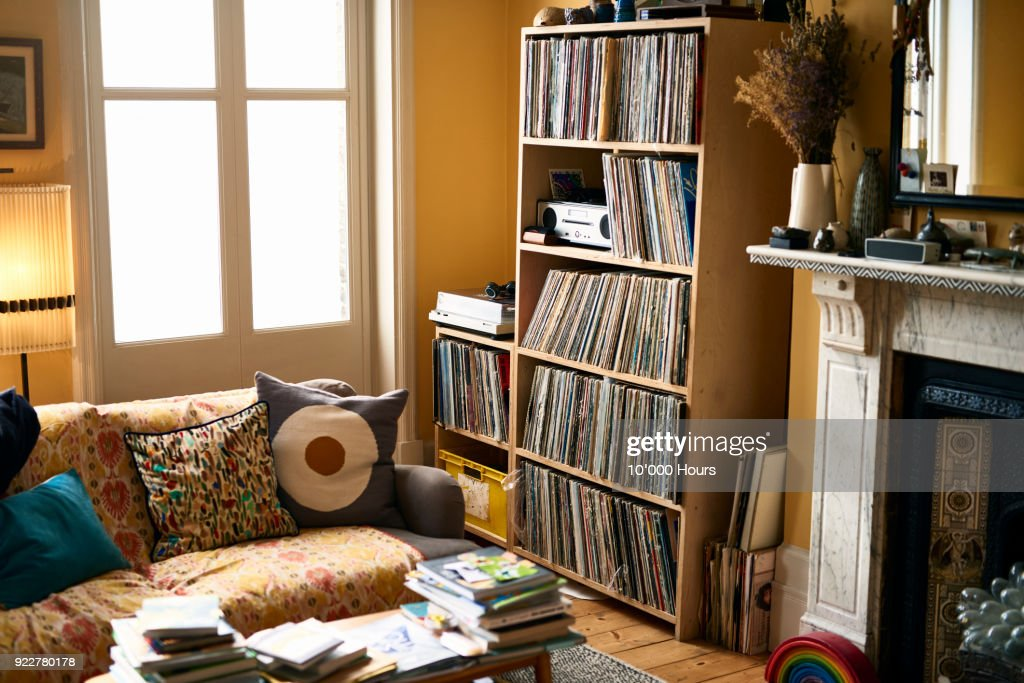 Living room with record collection : Stock Photo