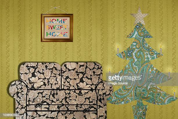 Living room with sofa and Christmas tree