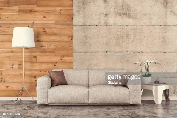 living room with sofa, decoration and copy space - front view stock pictures, royalty-free photos & images