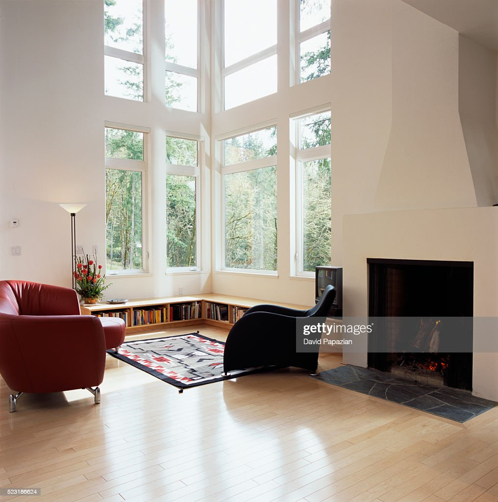 Living Room With Tall Windows High Res