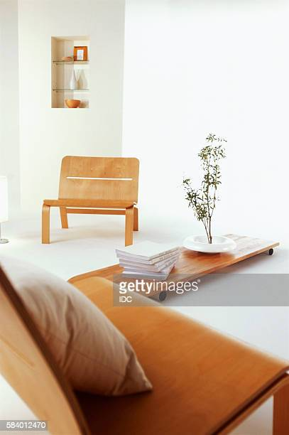 Living room with wooden chairs and coffee table