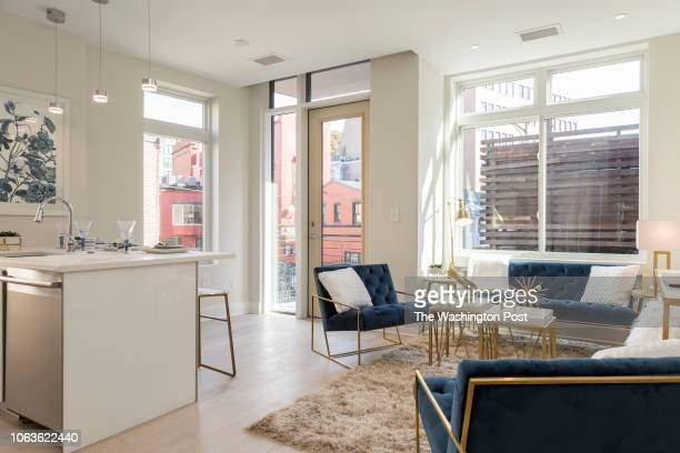 Living Space in Unit 204 of the modern style building at 1745 N Condominiums on October 31 2018 in Washington DC