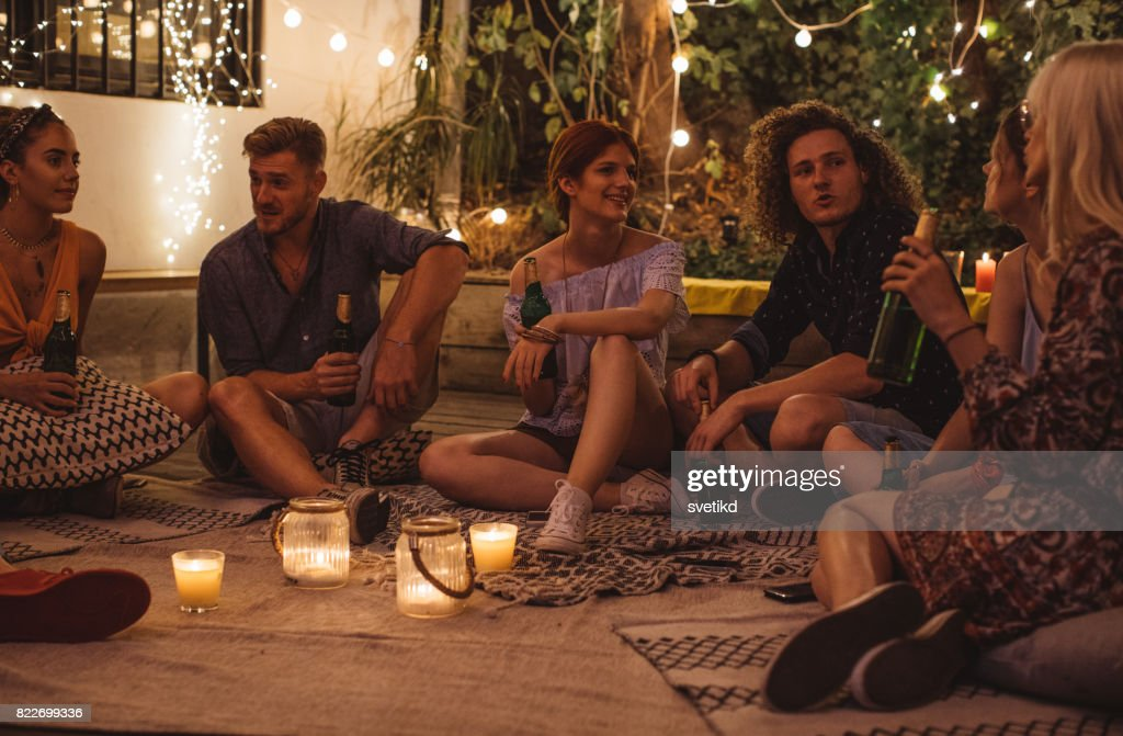 Living the good life with friends : Stock Photo