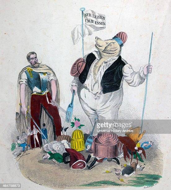 Living To Eat Cartoon By Leopold Zechmayer 1805 Circa 1860 Austrian Artist Austria Eating Too Much Is Killing Us More Than The War Lobster Chicken...