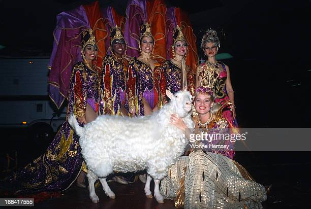 """Living """"unicorn"""" is photographed backstage with performers of the Ringling Brothers Barnum and Bailey Circus April 11, 1985 in New York City."""