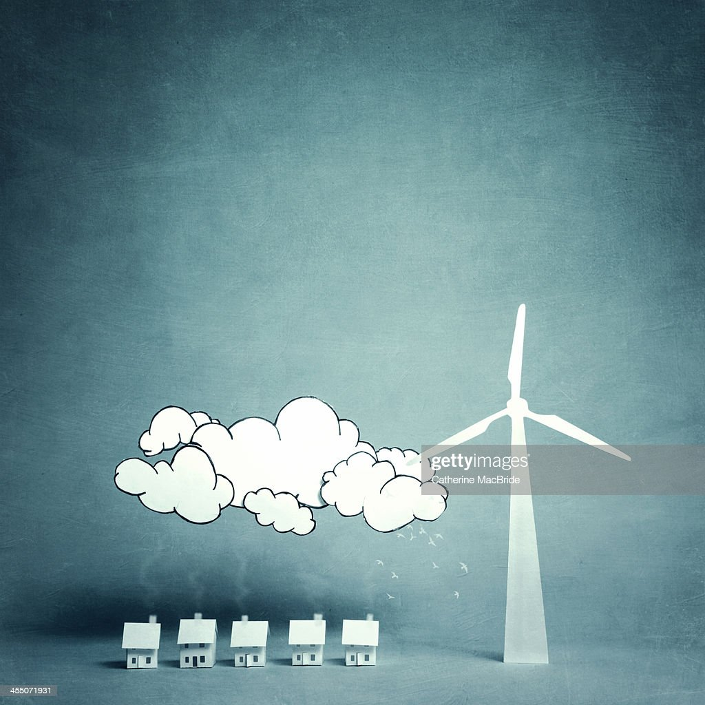 Living with a large wind turbine : Stock Photo
