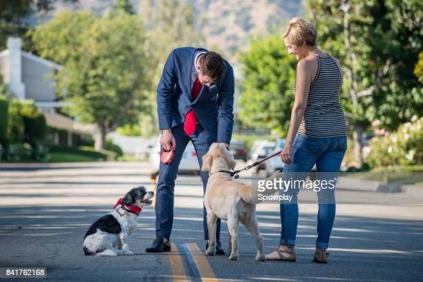 Leben mit Haustieren - Geschäftsmann und Hund Morgenroutine