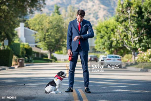 Living with Pets - Businessman Impatiently Waits for His Dog