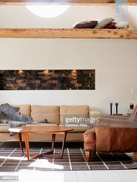 a living-room, sweden. - animal skin rug stock pictures, royalty-free photos & images