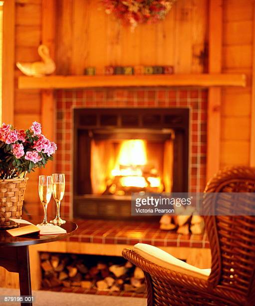 Living-room with fireplace, two glasses of champagne on table