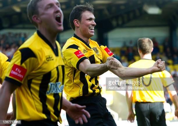 Auchinleck Talbot goal scorer David Gormley celebrates putting his side in front.