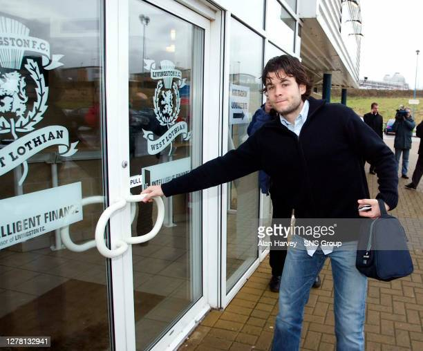 Juanjo Camacho looks grim faced as he arrives to hear he is among six players sacked by Livingston to stem their debts...