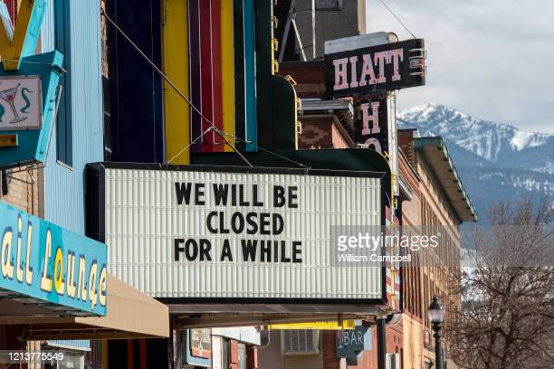 A usually busy Main Street in Livingston Montana after Governor Steve Bullock order the closing of restaurants bars and theaters on March 202020 in...