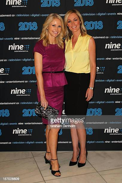 Livinia Nixon and Alicia Loxley pose as they arrive at the Nine 2013 program launch at Myer on November 28 2012 in Melbourne Australia