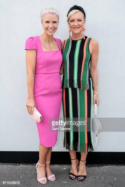 Livinia Nixon and Jo Hall pose on Melbourne Cup Day at Flemington Racecourse on November 7 2017 in Melbourne Australia
