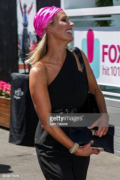 Livinia Nixon arrives at Oaks Day at Flemington Racecourse on November 3 2016 in Melbourne Australia