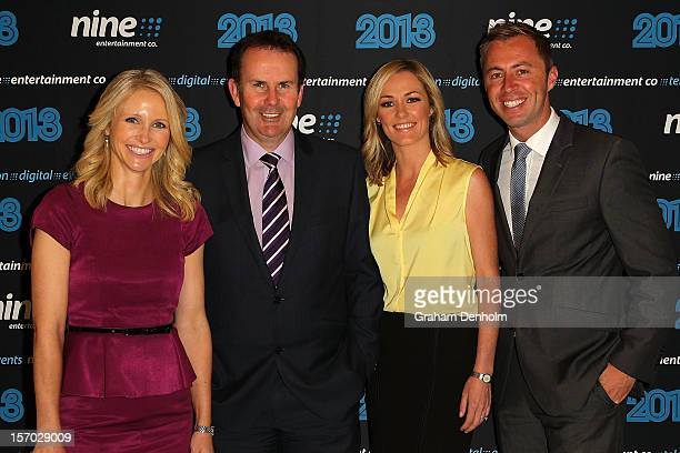 Livinia Nixon Tony Jones Alicia Loxley and Clint Stanaway pose as they arrive at the Nine 2013 program launch at Myer on November 28 2012 in...