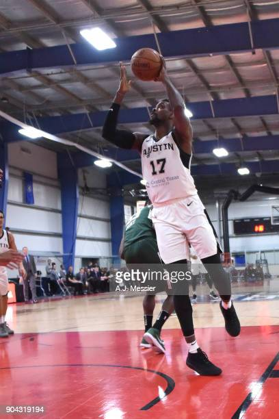 Livio JeanCharles of the Austin Spurs drives to the basket against the Wisconsin Herd during the GLeauge Showcase on January 12 2018 at the Hershey...