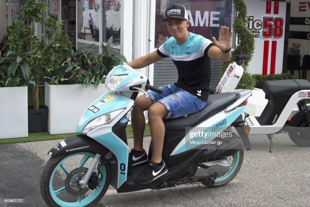 Livio Loi of Belgium and Leopard Racing rides the scooter in paddock during the MotoGP of San Marino - Previews at Misano World Circuit on September 7, 2017 in Misano Adriatico, Italy.