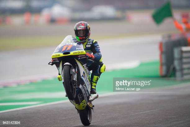 Livio Loi of Belgium and Reale Avintia Academy KTM lifts the front wheel during the qualifying practice during the MotoGp of Argentina Qualifying on...