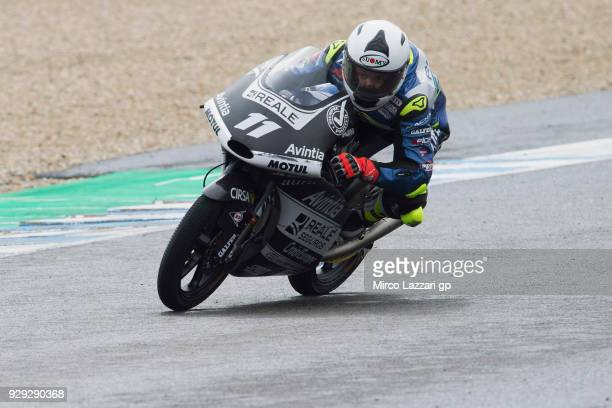 Livio Loi of Belgium and Reale Avintia Academy KTM rounds the bend during the Moto2 Moto3 Tests In Jerez at Circuito de Jerez on March 8 2018 in...