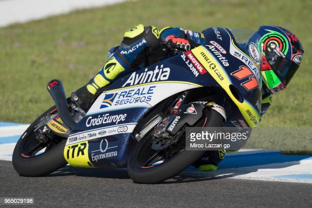 Livio Loi of Belgium and Reale Avintia Academy KTM rounds the bend during the qualifying practice during the MotoGp of Spain Qualifying at Circuito...