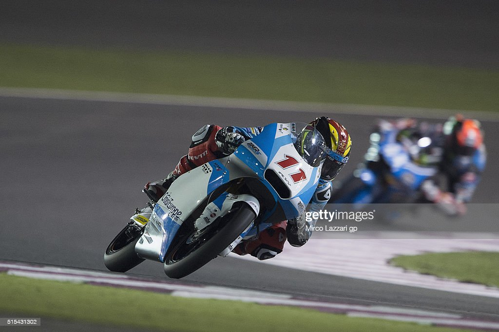 Livio Loi of Belgium and RW Racing GP BV leads the field during the Moto2 And Moto 3 Tests at Losail Circuit on March 13, 2016 in Doha, Qatar.