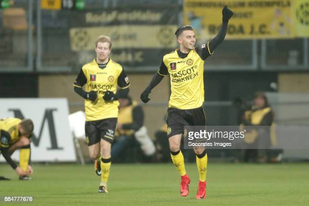 Livio Milts of Roda JC celebrates 21 during the Dutch Eredivisie match between Roda JC v SC Heerenveen at the Parkstad Limburg Stadium on December 3...