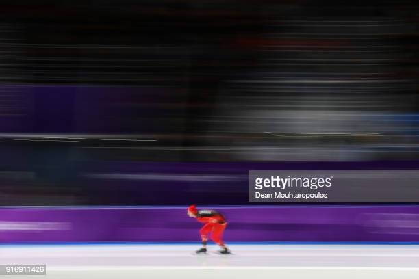 Livio Wenger of Switzerland competes in the Men's 5000m Speed Skating event on day two of the PyeongChang 2018 Winter Olympic Games at Gangneung Oval...