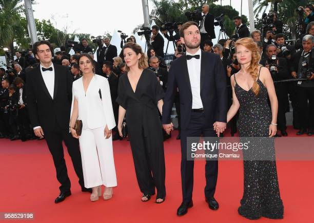 """Liviu Bora, guest, mLouise Blachere , Pierre Deladonchamps and Mélanie Thierry attend the screening of """"BlacKkKlansman"""" during the 71st annual Cannes..."""