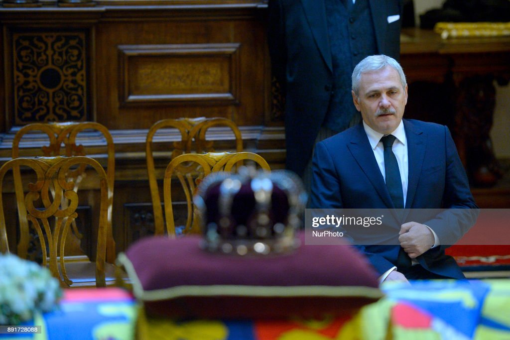 Liviu Dragnea the leader of the Social Democratic Party (PSD) attends the coffin of King Michael I of Romania at Castle Peles (150 km from Bucharest - The Peles Castle is summer residence of Romanian King) on December 13, 2017. A ceremony was held at the airport in the presence of the five daughters of the former king, representatives of the Romanian authorities and senior Orthodox prelates. The remains of Michel from Romania, who died on December 05, 2017 in Switzerland at the age of 96.